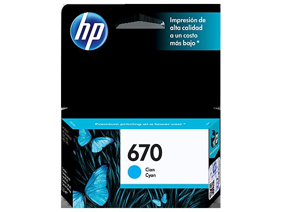 Tinta HP 670 Cartucho de Inyección de Tinta Cyan