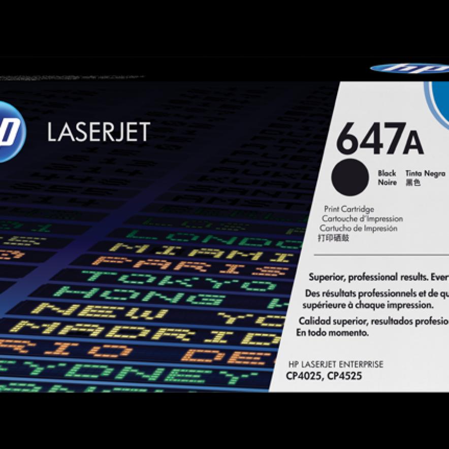 Cartucho original de tóner negro HP 647A LaserJet