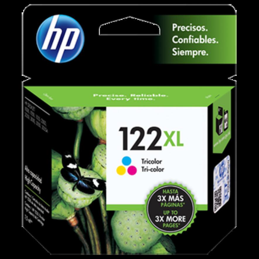 Cartucho original de tinta tricolor de alto rendimiento HP 122XL